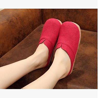 Damen Slippers & Flip-Flop Komfort Sommer Leinwand Normal Beige Rot Blau Flach