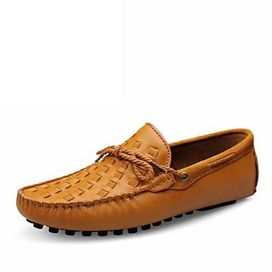 Men's Cowhide Summer / Fall Comfort Loafers & Slip-Ons Walking Shoes Black / Yellow / Dark Brown