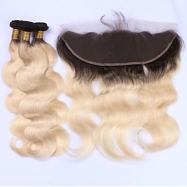 3 Bundles with Closure Brazilian Hair Body Wave Virgin Human Hair Hair Weft with Closure 12-22 inch Human Hair Weaves Lace Front 8a Human Hair Extensions