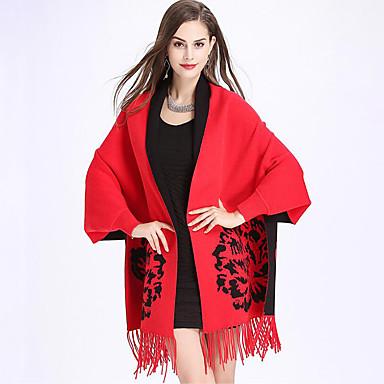 Core Spun Yarn Wedding / Party / Evening Women's Wrap With Tassel Shawls