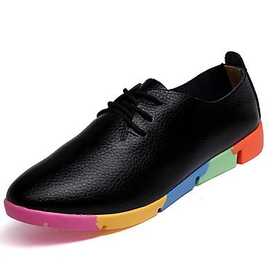 Damen Schuhe PU Frühling Herbst Komfort Sportschuhe Flacher Absatz für Normal Weiß Schwarz Orange Blau