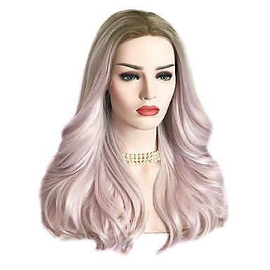 povoljno Perike i ekstenzije-Tijelo Wave Stil Lace Front Perika Pink Pink / Grey Sintentička kosa Žene Pink Perika Dug Uniwigs
