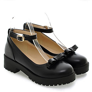Damen Schuhe PU Frühling Komfort Flache Schuhe Flacher Absatz Für Normal Schwarz Gelb Rot