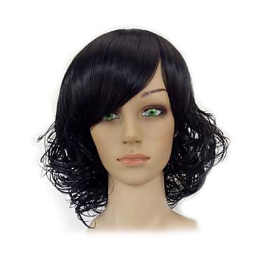 Szintetikus parókák Göndör / afro Szintetikus haj Fekete Paróka Női Rövid Sapka nélküli