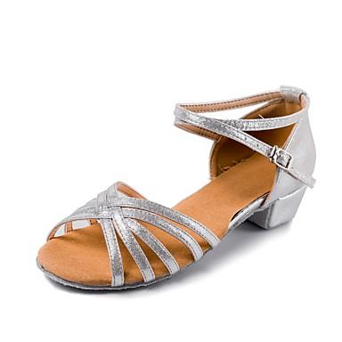 Gyermek tánccipők Nubuk bőr / Lakkbőr Csat Alacsony Személyre szabható Dance Shoes Ezüst