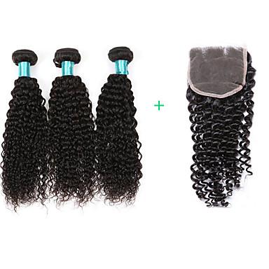 baratos Extensões de Cabelo Natural-3 pacotes com fechamento Cabelo Brasileiro Encaracolado Kinky Curly 8A Cabelo Humano Cabelo Bundle Tramas de cabelo humano Extensões de cabelo humano / Crespo Cacheado