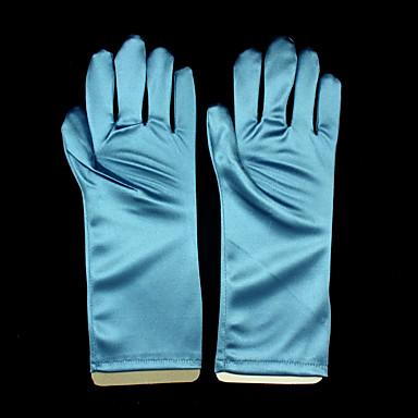 Elastic Satin Wrist Length Glove Anime / Bridal Gloves With Ruffles