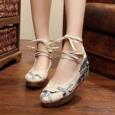 Damen Schuhe Stoff Frühling Sommer Komfort Flache Schuhe Flacher Absatz Für Normal Beige Rot Blau