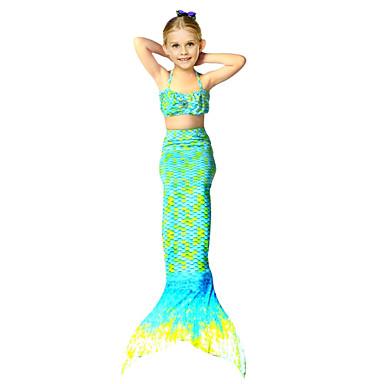 povoljno Kupaći za djevojčice-Dijete koje je tek prohodalo Djevojčice Slatka Style Plaža Rep sirene Mala sirena Geometic Mješavina pamuka Kupaći kostim žuta