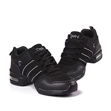 baratos Shall We® Sapatos de Dança-Mulheres Sapatos de Dança Tule Tênis de Dança Recortes Têni Sem Salto Personalizável Preto e Dourado / Rosa e Branco / Preto / Branco