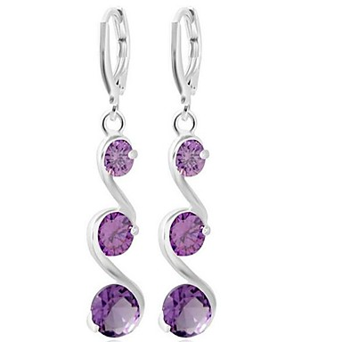 Women's Drop Earrings - Wave Fashion, Oversized Silver / Purple / Pink For Wedding / Party / Evening Party