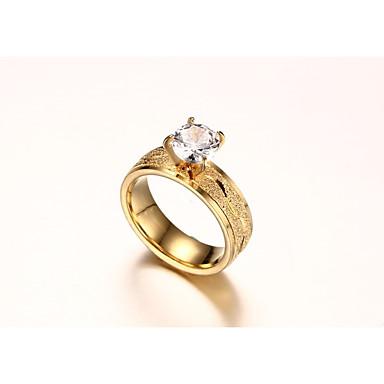 Női Kocka cirkónia Aranyozott Band Ring - Circle Shape Divat / minimalista stílusú Arany Gyűrű Kompatibilitás Esküvő / Eljegyzés /