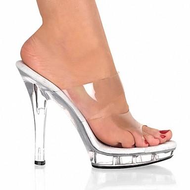 PVC Aiguille amp; amp; 06153127 Flip ouvert Cristal Femme Chaussures Eté flops Pantoufles Sandales Bout Talon Soirée Clair Evénement zIx5Zq