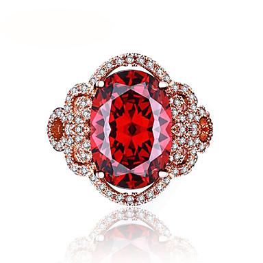Női Szintetikus rubin Band Ring - Rose Gold Virág Luxus, Vintage, Elegáns 6 / 7 / 8 Piros Kompatibilitás Esküvő / Eljegyzés / Ünnepség
