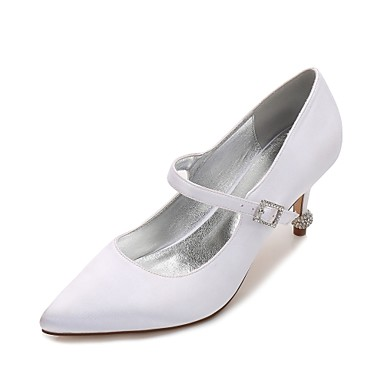 Women's Shoes Satin Spring Summer Basic Pump Comfort Wedding Shoes Kitten Heel Cone Heel Low Heel Stiletto Heel Pointed Toe Rhinestone