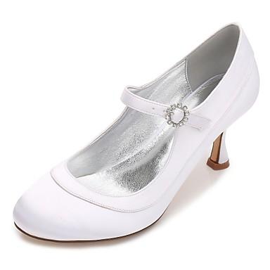 Női Cipő Szatén Tavasz / Nyár Magasított talpú / Mary Jane / Kényelmes Esküvői cipők Cicasarok / Alacsony / Tűsarok Kerek orrú Strasszkő