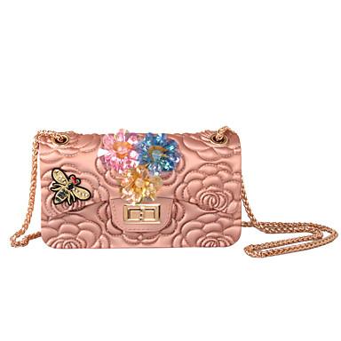 Damen Taschen Silica Gel Umhängetasche Strass Applikationen Glitter Perle reibungslos Pailletten Blumig Kette Blume Blütenblätter Muster