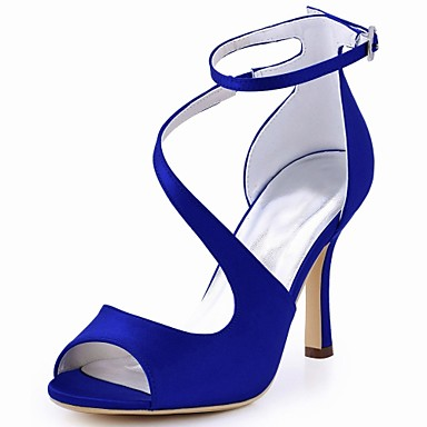 povoljno Ženske cipele-Žene Vjenčanje Cipele Stiletto potpetica Peep Toe Kopča Elastična tkanina Obične salonke Ljeto Dark Blue / Plava / Tamno ljubičasta / Zabava i večer / EU41
