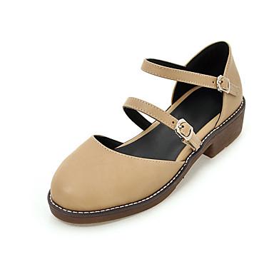 Damen Schuhe PU Sommer Pumps Sandalen Blockabsatz Runde Zehe Schnalle Für Hochzeit Party & Festivität Kleid Schwarz Grau Mandelfarben
