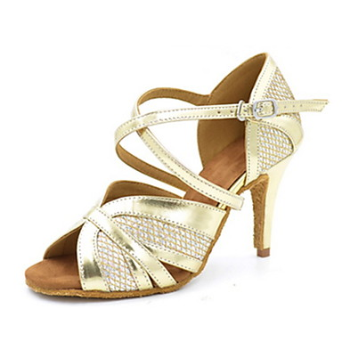 Women's Latin Shoes Faux Leather Sandal Sparkling Glitter Shoes Stiletto Heel Customizable Dance Shoes Glitter Gold / Performance fe8ffc
