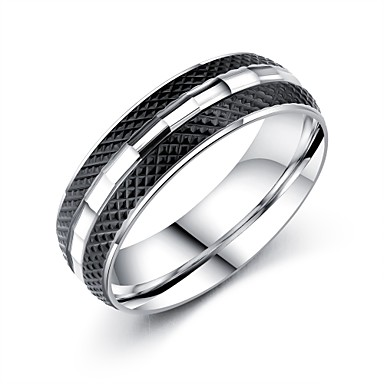 Men's AAA Cubic Zirconia Band Ring - Titanium Steel Classic, Vintage, Basic 7 / 8 / 9 White For Party / Birthday / Gift