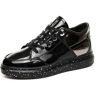Férfi cipő PU Tavasz Ősz Kényelmes Tornacipők Fűző mert Hétköznapi Fekete Ezüst Fekete/Vörös