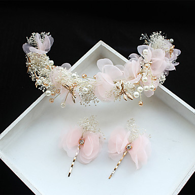 Tüll / Sifon / Csipke Virágok / Hair Clip val vel 1 Esküvő / Különleges alkalom / Születésnap Sisak