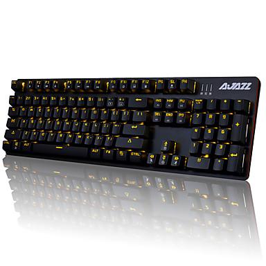 AJAZZ AJAZZ-AK52 Wired Monochromatic Backlit Blue Switches 104 Mechanical Keyboard Backlit Programmable
