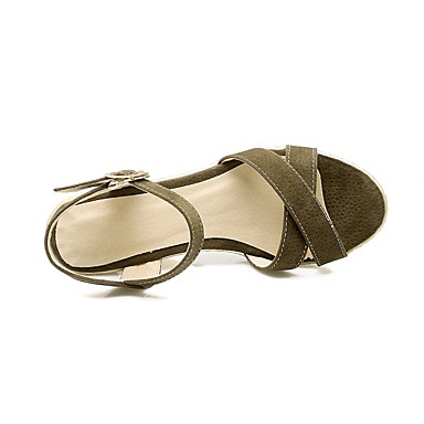 Damen Schuhe PU Frühling Sommer Komfort Sandalen Keilabsatz Offene Spitze Für Normal Schwarz Armeegrün