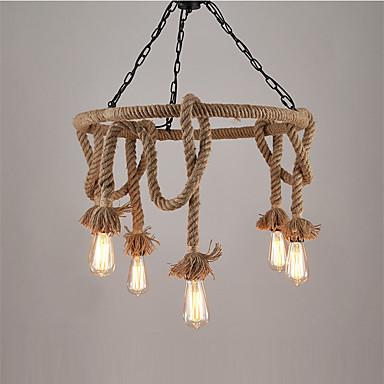 vintage ipari kender kötél függesztett lámpa 6-lámpa csillárral nappali étkező világítótest