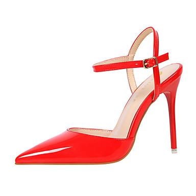 Damen High Heels Komfort formale Schuhe Lackleder Sommer Herbst Hochzeit Kleid Party & Festivität Walking Schnalle StöckelabsatzViolett