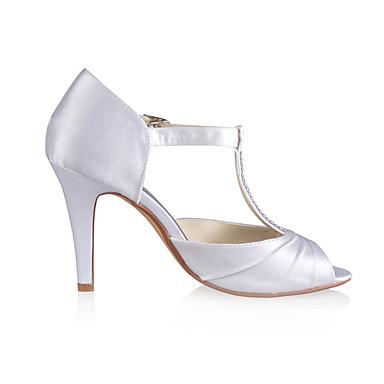 Aiguille 06118079 Eté de Satin Femme ouvert Bout Escarpin Chaussures Chaussures Cristal Talon Elastique Basique pour Mariage mariage Volants txTHHw1vq