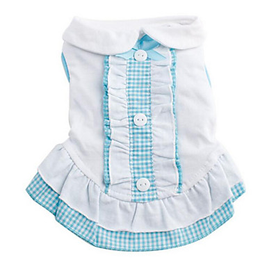 Dog Dress Dog Clothes Plaid / Check Blue / Pink Cotton Costume For Pets Summer Men's / Women's Casual / Daily