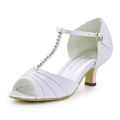 billige Toppsalg-Dame bryllup sko Tykk hæl Titte Tå Krystall / Spenne Elastisk stoff Basispumps Sommer Rød / Grønn / Blå / Bryllup