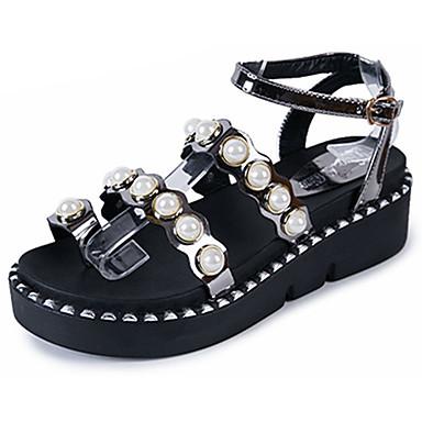 Damen Schuhe PU Sommer Komfort Sandalen Walking Keilabsatz Offene Spitze Perle für Normal Weiß Grau