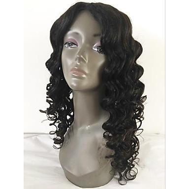 Emberi haj Csipke Paróka Hullámos Laza hullám 130% Sűrűség 100% kézi csomózású Afro-amerikai paróka Természetes hajszálvonal Rövid