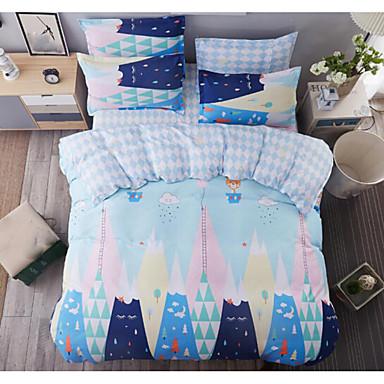 Geometrisch 4 Stück Baumwolle Druck Baumwolle 4-teilig (1 Bettbezug, 1 Bettlaken, 2 Kissenbezüge)
