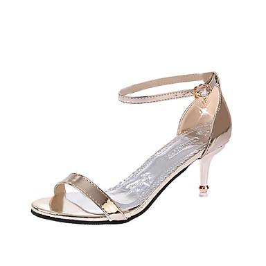 Mulheres Sapatos Couro Ecológico Verão Conforto Sandálias Salto Agulha para Ao ar livre Dourado Prata Rosa cor de Rosa