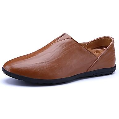 Férfi cipő Bőr Tavasz Ősz Mokaszin Papucsok & Balerinacipők mert Hétköznapi Fekete Világosbarna Sötétbarna
