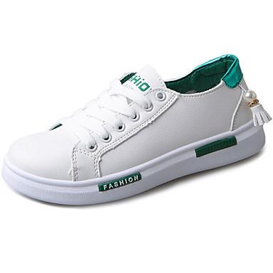 Damen Sneaker Komfort PU Frühling Sommer Normal Walking Schnürsenkel Flacher Absatz Schwarz Grün Flach