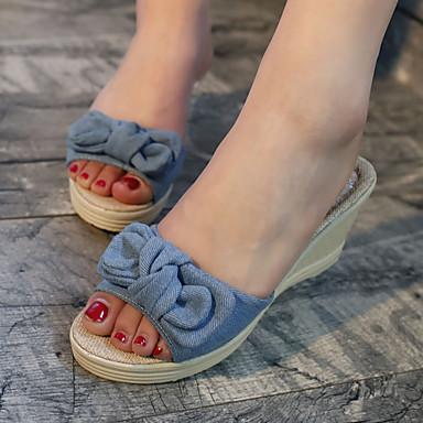 para Sandalias Negro Azul Tacón Verano Puntera Mujer abierta Cuña Confort Vestido Primavera 06090512 Zapatos Casual Pajarita PU RnHPX
