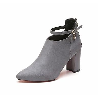 Damen Schuhe Wildleder Herbst formale Schuhe Stiefel Walking Blockabsatz Spitze Zehe Schnalle für Kleid Party & Festivität Schwarz