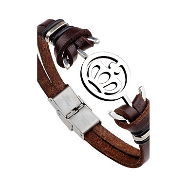 Men's Leather Bracelet - Stainless Steel, Leather Crown, Anchor Black, Brown