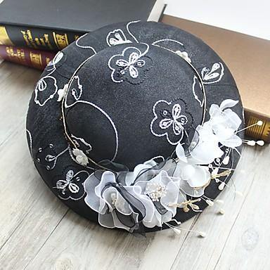 Edelstein & Kristall Tüll Künstliche Perle Stoff Kunststoff Seide Netz Fascinatoren Hüte Kopfbedeckung with Kristall Feder 1 Hochzeit