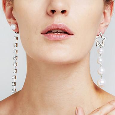 Mulheres Diamante sintético Incompatível / Longas Pingentes - Estrela Luxo, Fashion, Euramerican Prata Para Presentes de Natal / Casamento / Aniversário