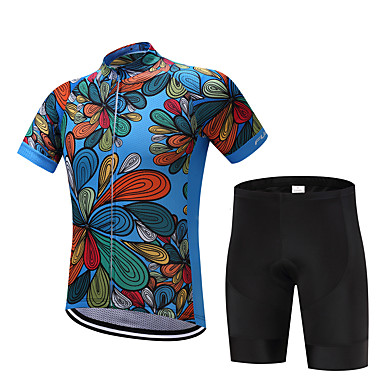 FUALRNY® Men's Short Sleeve Cycling Jersey with Shorts - Dark Blue / Red Bike Clothing Suit, Quick Dry, Sweat-wicking Polyester, Coolmax®, Silicon Floral / Botanical / Stretchy / Advanced / Lycra