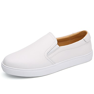 Women's Shoes Cowhide Spring / Fall Light Soles Loafers & Slip-Ons Flat Heel Round Toe White / Black