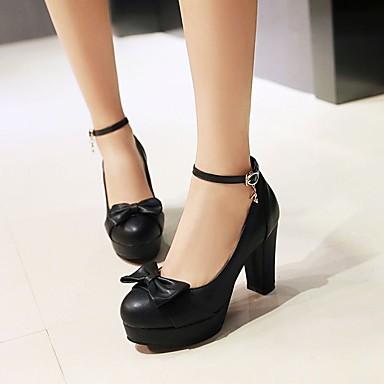 Damen Schuhe PU Frühling Komfort High Heels Blockabsatz Runde Zehe Für Normal Schwarz Blau Rosa