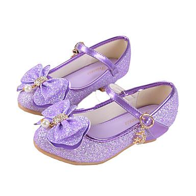Lány Cipő Szintetikus Mikrorost PU Tavaszi nyár Kényelmes / Újdonság / Virágoslány cipők Lapos Csokor / Csat mert Arany / Bíbor