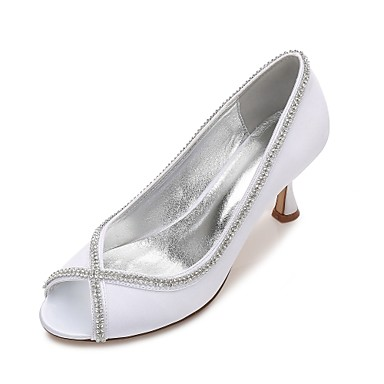 d18c8e500d0a Women s Shoes Satin Spring   Summer Comfort   Basic Pump Wedding Shoes  Kitten Heel   Low Heel   Stiletto Heel Peep Toe Rhinestone